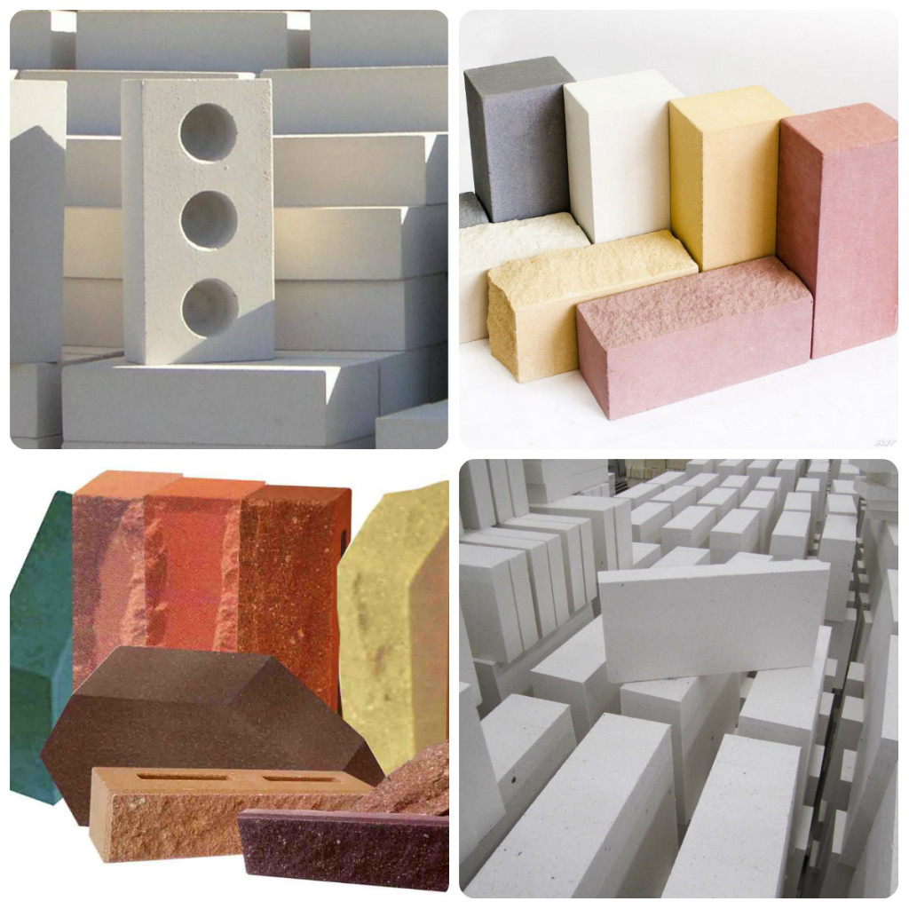 Существует множество разновидностей силикатного кирпича, имеющих разный внешний вид и назначение.